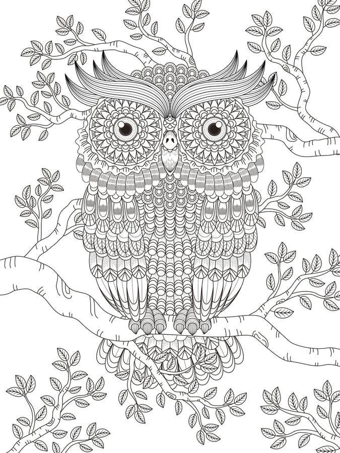 Dorosła kolorystyki strona z wspaniałą sową royalty ilustracja