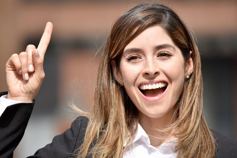 Dorosła Kolumbijska Biznesowa kobieta Ma pomysł obrazy royalty free