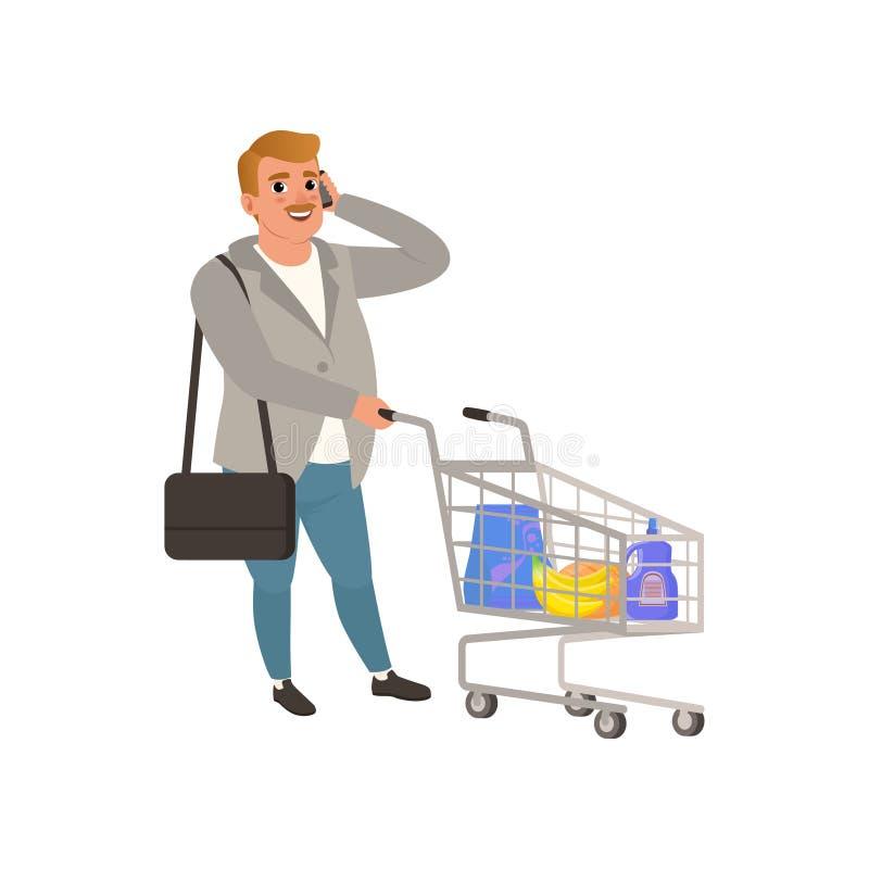 Dorosła mężczyzna pozycja z wózek na zakupy i opowiadać na telefonie Postać z kreskówki z wąsy w kardiganie i cajgach mieszkanie ilustracja wektor