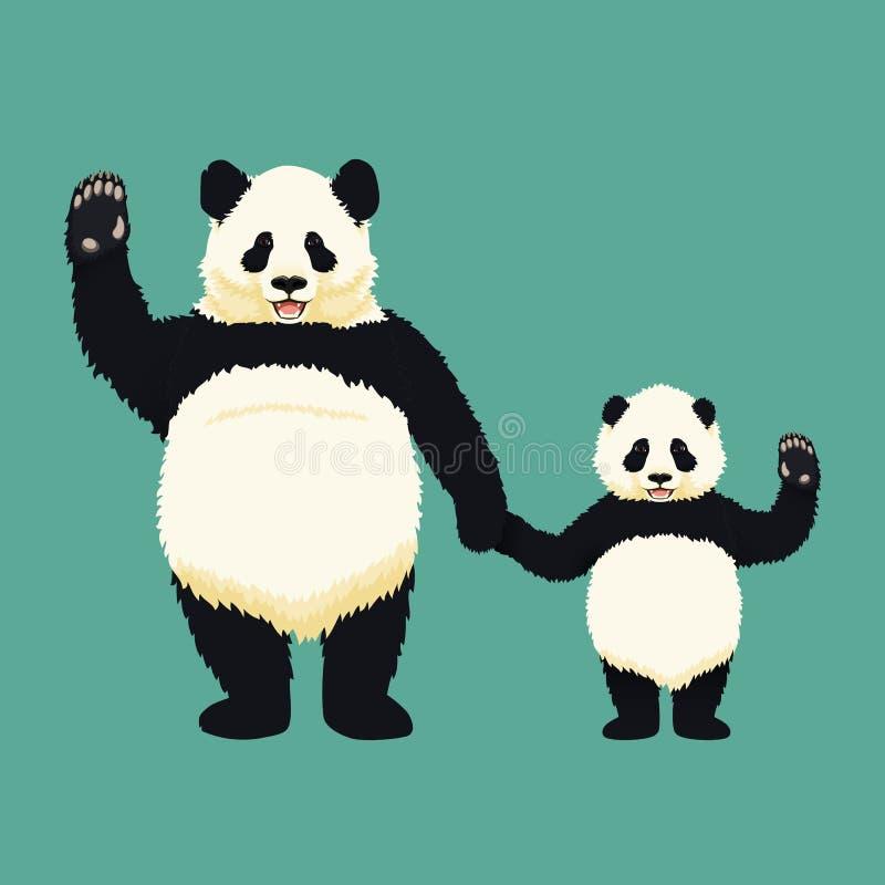 Dorosłe gigantycznej pandy, dziecko pandy mienia trwanie ręki i i Chińczyk niedźwiadkowa rodzina Matka, ojciec lub dziecko ilustracja wektor
