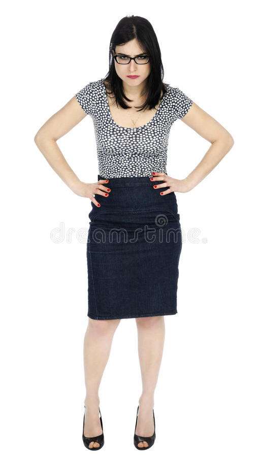 Odosobnione Gniewne kobiet ręki na biodrach zdjęcia stock