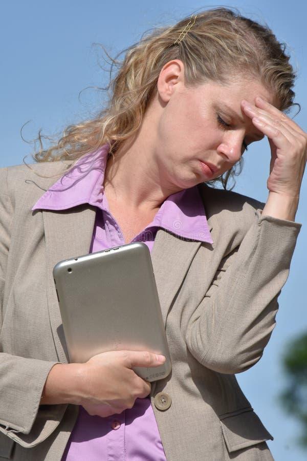 Dorosłej blondynki Biznesowa kobieta Pod stresem fotografia stock