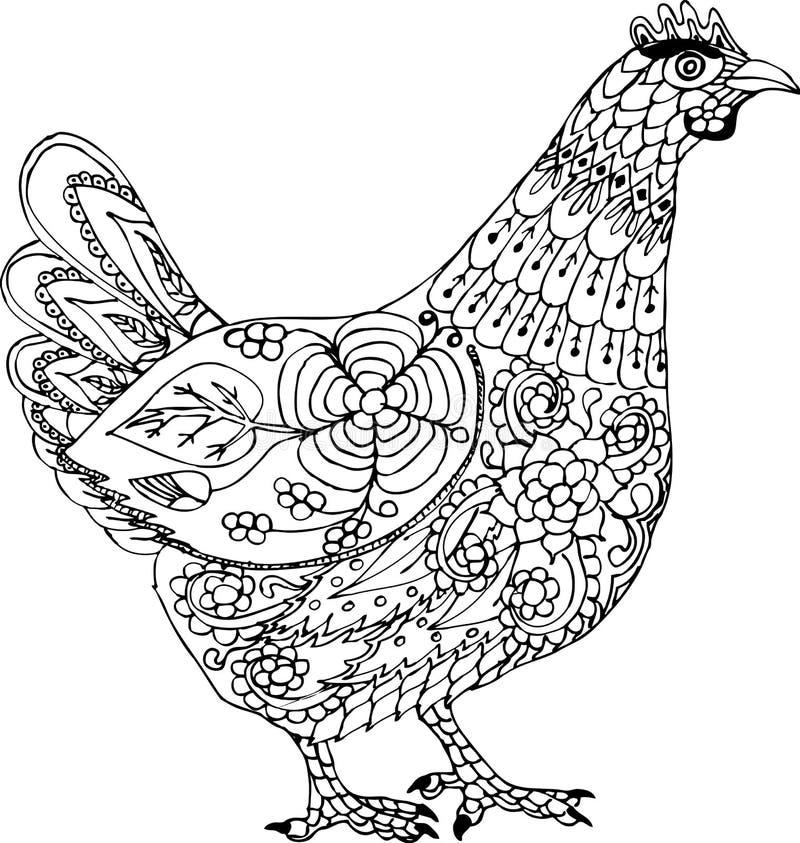 Dorosły kurczak Ręka rysujący wzory dla barwić ilustracji