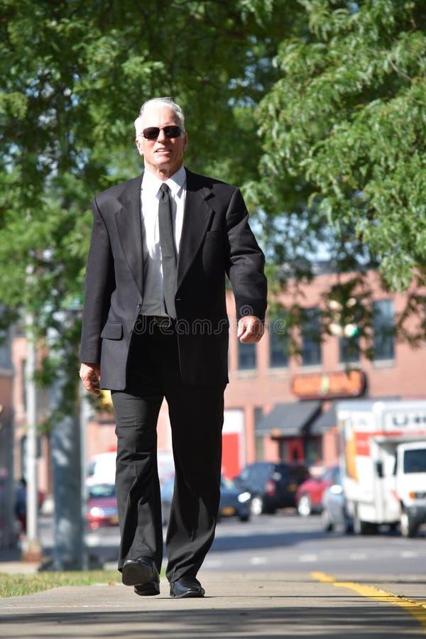 Dorosły przedsiębiorcy portret Jest ubranym krawata odprowadzenie Na chodniczku obraz stock