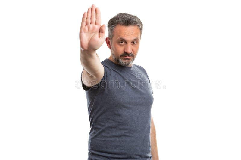 Dorosły robi przerwa znak z palmą zdjęcia royalty free
