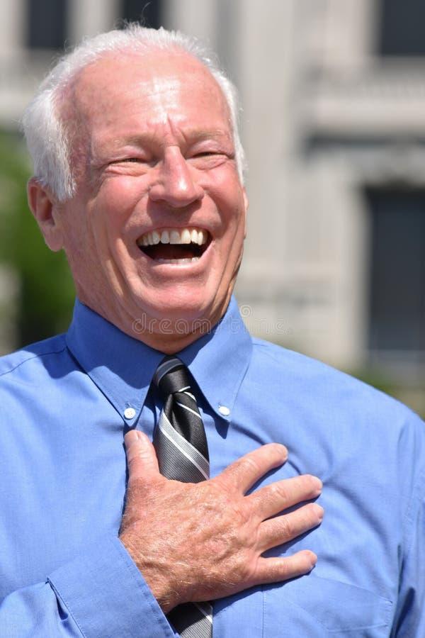 Dorosły Starszy Biznesowy mężczyzna I śmiech obrazy stock