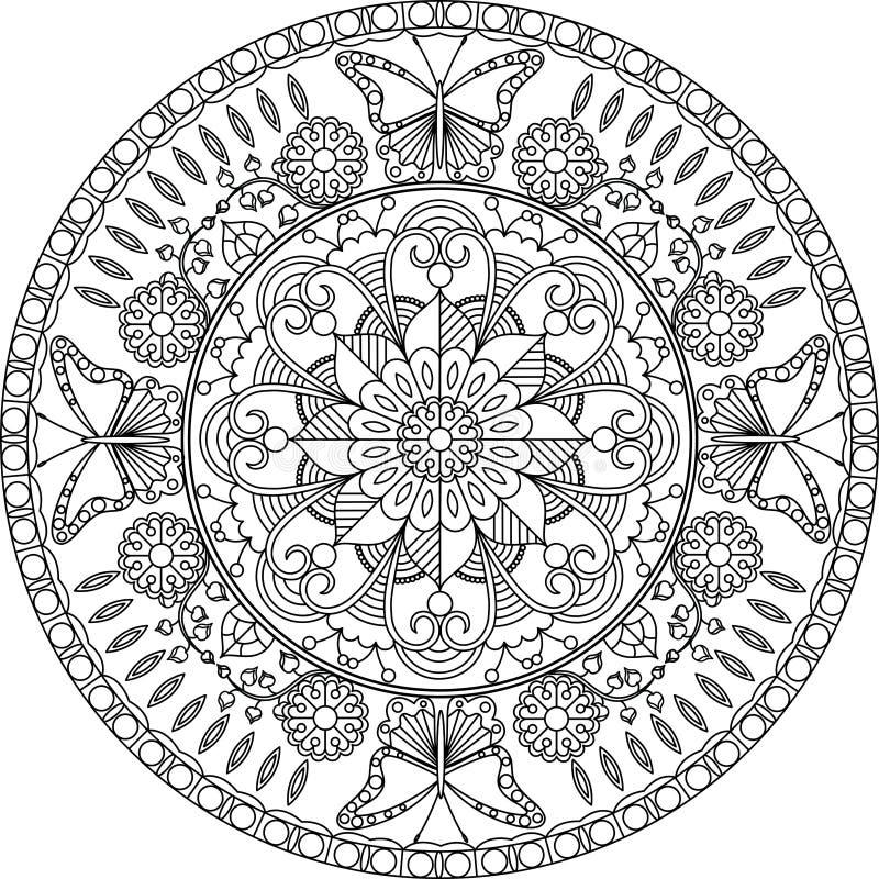 dorosła kolorystyki strona mandala z kwiatami i motyle