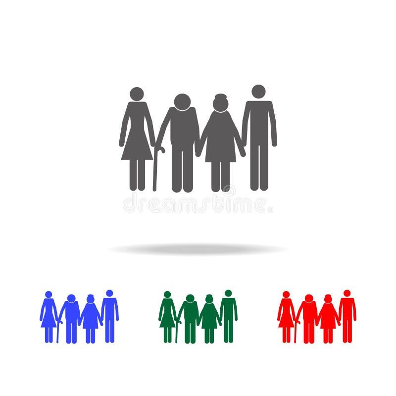 dorosli dzieci z rodzic ikoną Elementy ludzki życie rodzinne w wielo- barwionych ikonach Premii ilości graficznego projekta ikona royalty ilustracja