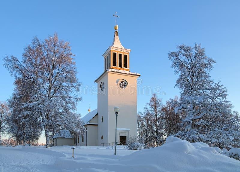 Dorotea Church in winter, Sweden stock photography