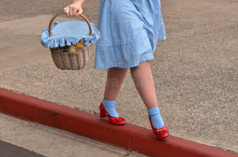 Dorothy Gale and Toto. GOLD COAST, AUS - NOV 06 2014:Dorothy Gale and Toto in Movie World Gold Coast Queensland Australia.Dorothy Gale was a fictional character royalty free stock images