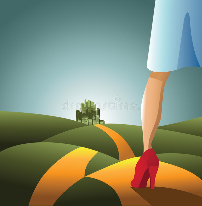 Dorothy on the road to the Emerald City. royalty free illustration