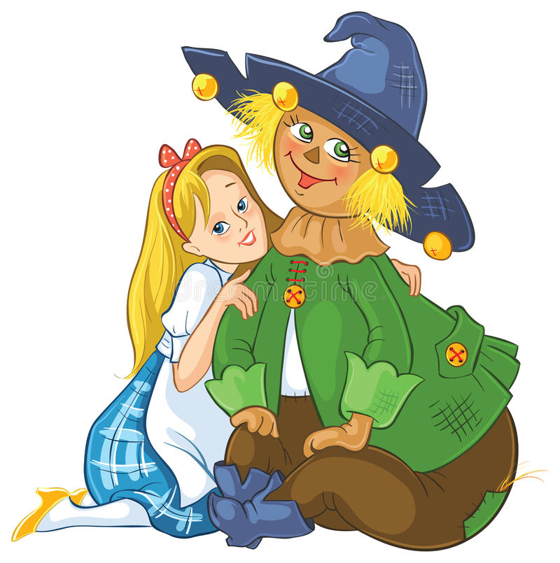 Dorothy and Scarecrow. Wizard of Oz stock illustration