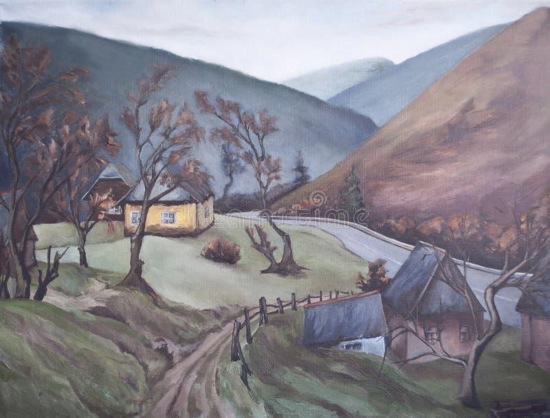 Dorp in de bergen, oude huizen met een omheining vector illustratie