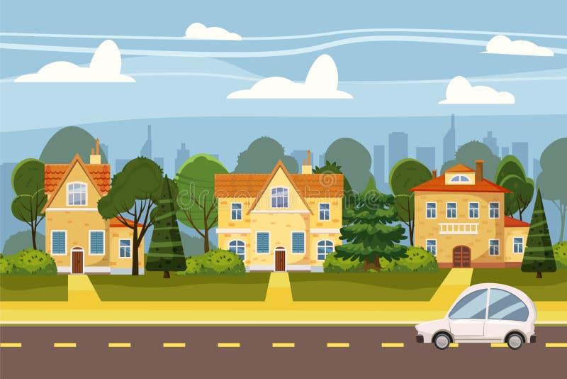 Dorp in de voorsteden van grote stad, bomen, weg, hemel en wolken Onroerende goederen, verkoop en huurhuis, herenhuis Echt platte stock illustratie