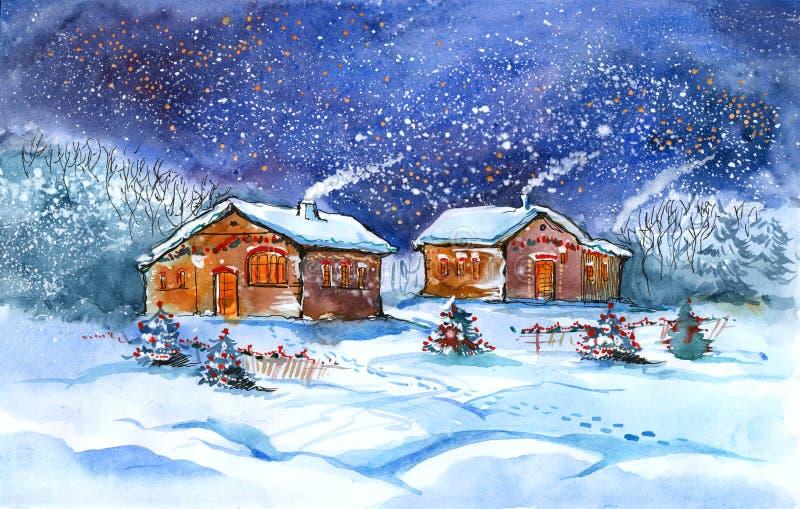 Dorp in de winter stock illustratie