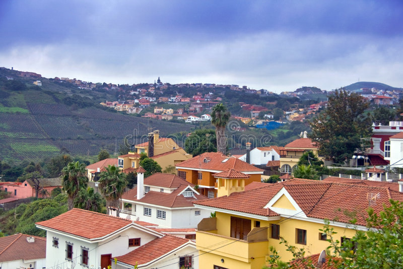 Dorp in Gran Canaria stock afbeelding