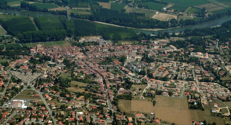 Dorp langs de Garonne royalty-vrije stock foto's