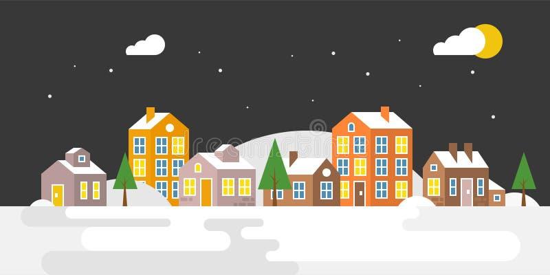 Dorp met sneeuw die, stedelijk Landschap voor gebruik als achtergrond vallen stock illustratie