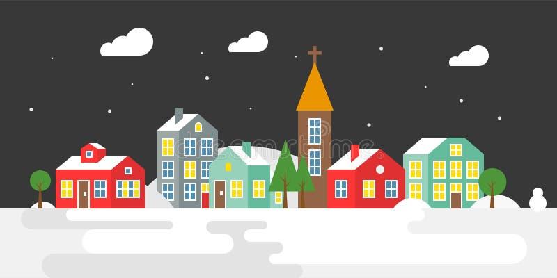 Dorp met sneeuw het vallen, Landschap voor gebruik als achtergrond of bedelaars stock illustratie