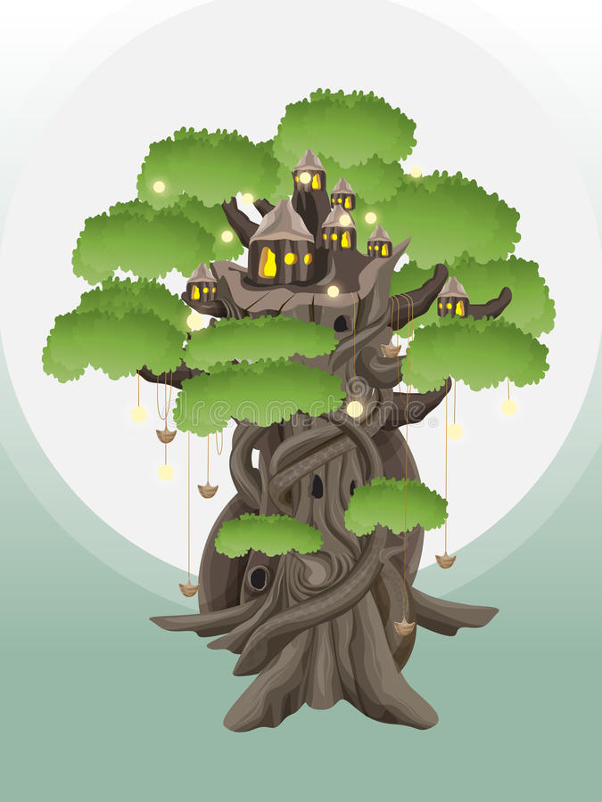 Dorp op bomen royalty-vrije stock afbeeldingen