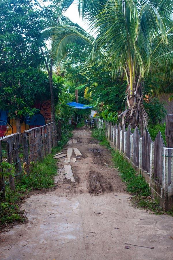 Dorp op Don Det-eiland royalty-vrije stock fotografie