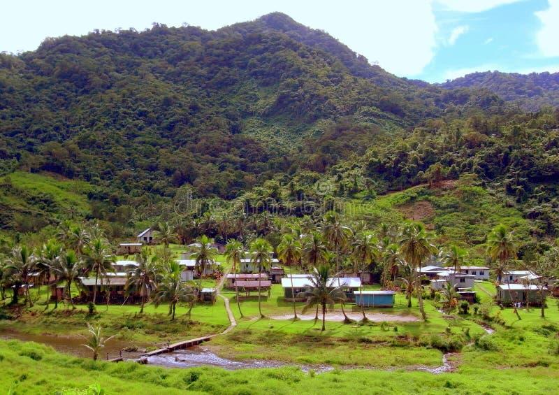 Dorp op het eiland van Viti Levu stock foto