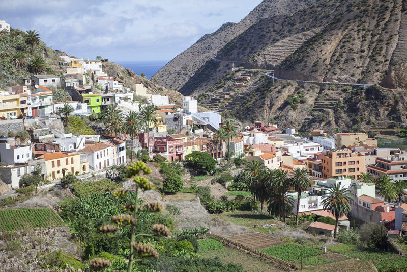 Dorp op La Gomera royalty-vrije stock afbeelding