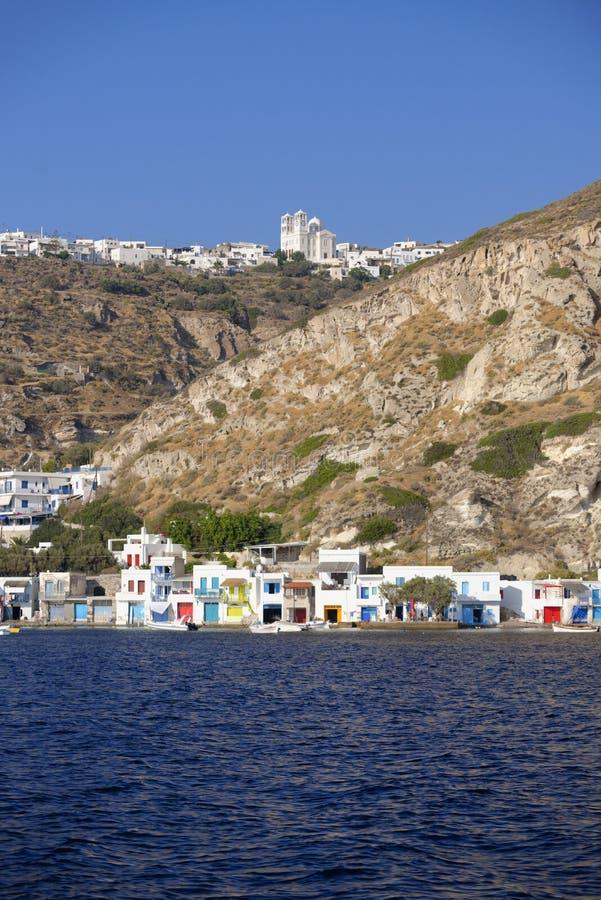Dorp op Milos Island, Griekenland royalty-vrije stock afbeelding