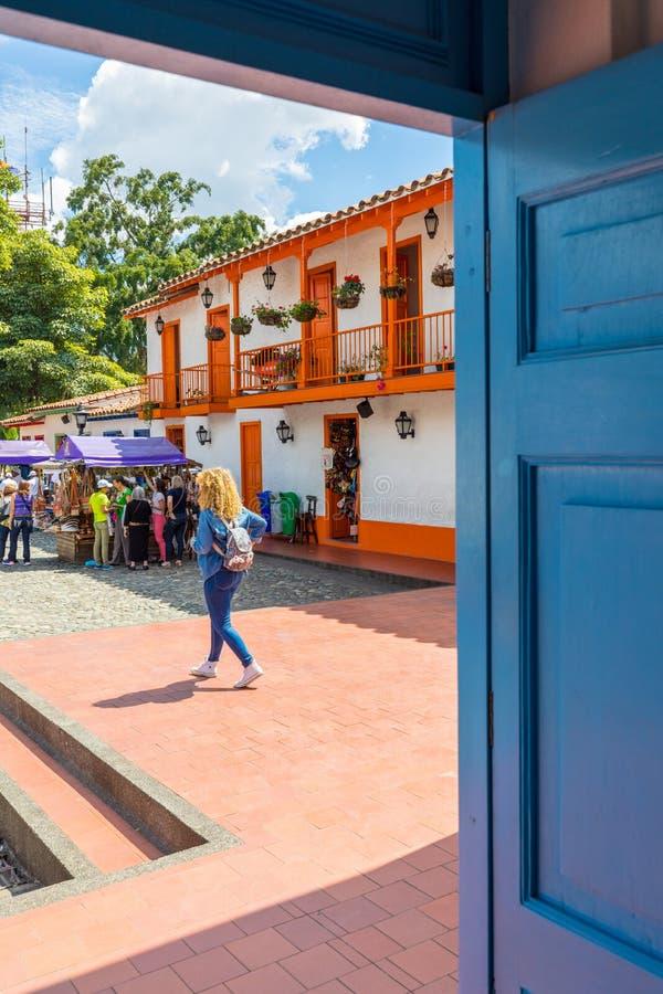 Dorp Paisa Medellin Colombia in de middag royalty-vrije stock afbeelding