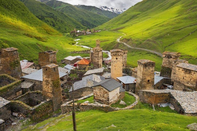 Dorp Ushguli in Hogere Svaneti, Georgië royalty-vrije stock foto