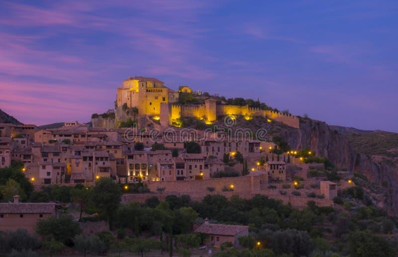 Dorp van Alquezar in de provincie van Huesca, Spanje royalty-vrije stock foto's