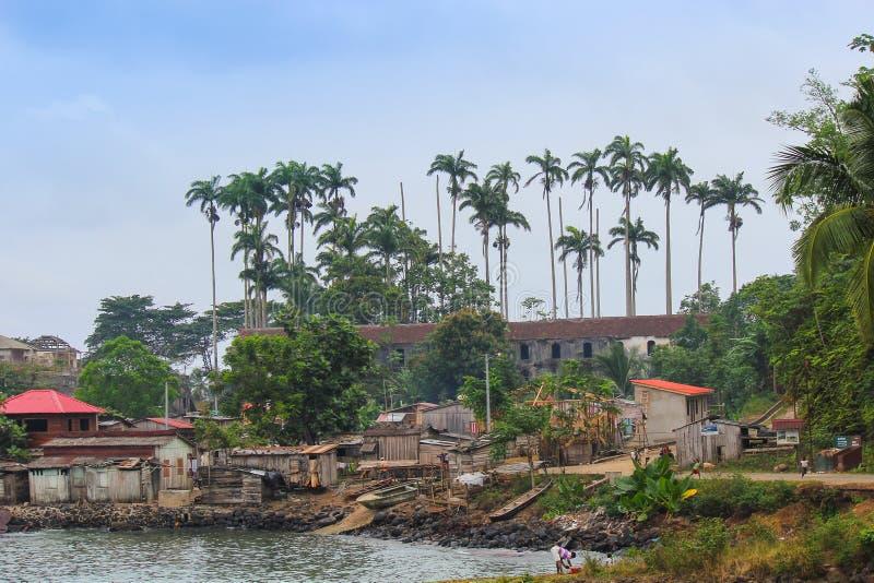 Dorp van Porto Alegre in Eiland Sao Tomé en Principe - Afr royalty-vrije stock foto's