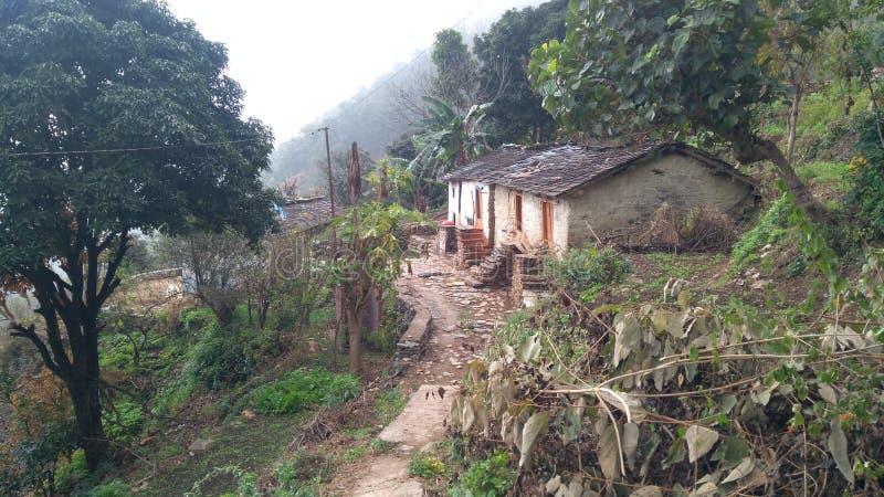 Dorp van uttarakhand plattelandsgebied stock afbeelding