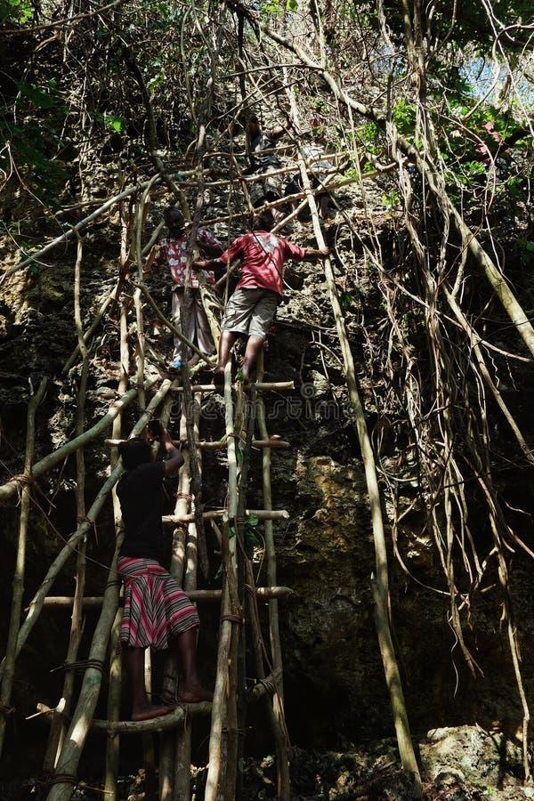 dorpsbewoners die een grote klip van de rotssteen op een voorlopige bamboe en boomboomstamladder beklimmen stock foto's