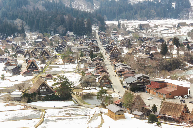 Dorpsshirakawago in Japan op de winter stock fotografie