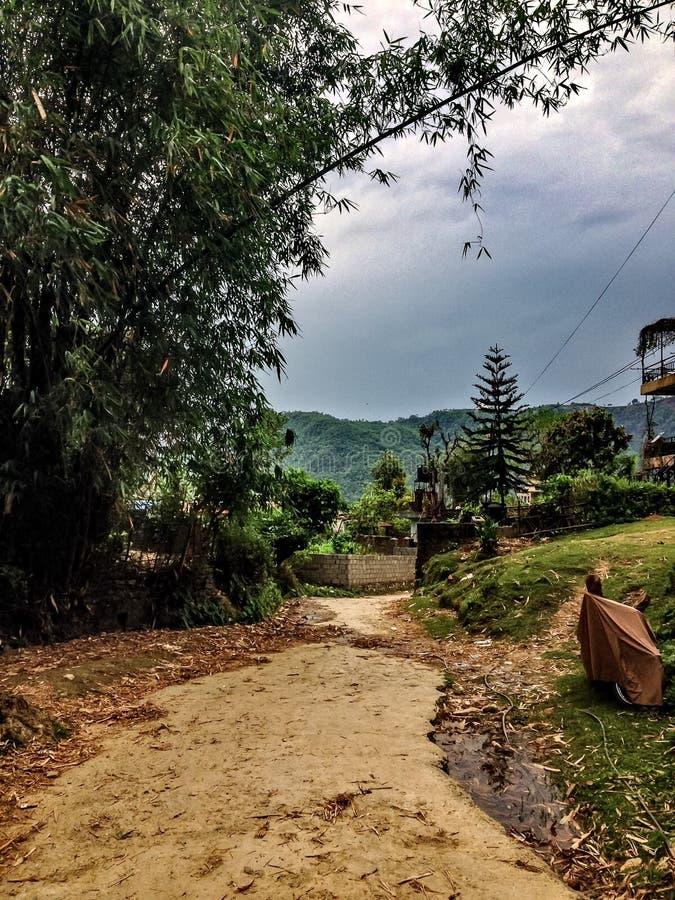 Dorpsweg in Himalayagebergte royalty-vrije stock foto's