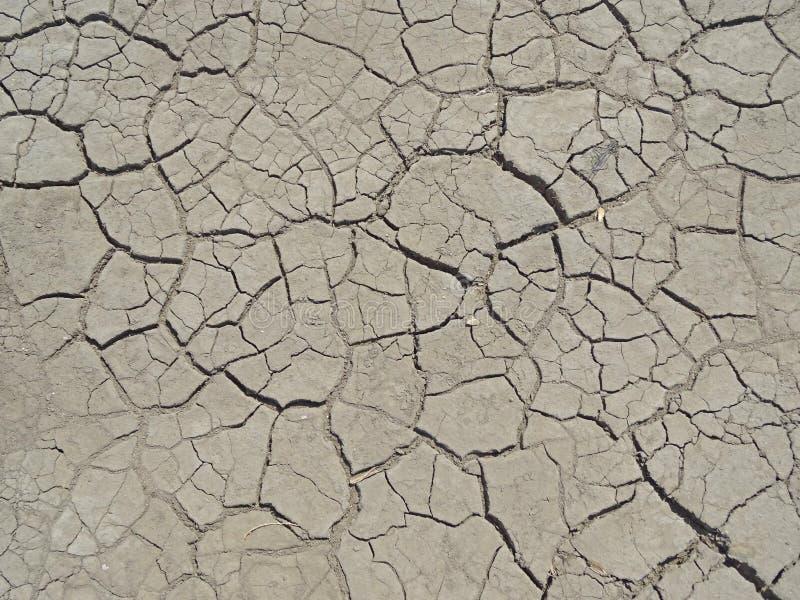 Dorre grond zonder water en opgedroogd stock afbeelding