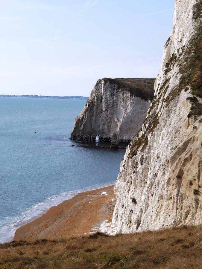 Chalk Cliffs On Dorset Coast Stock Photo