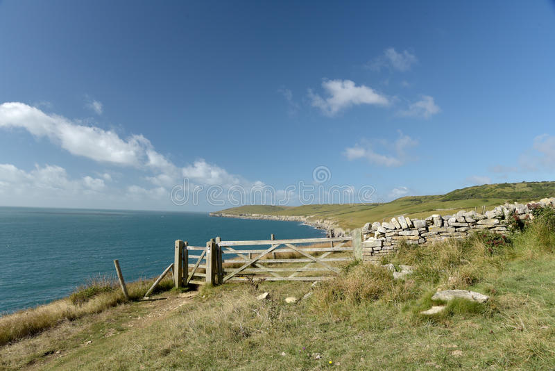 Dorset coastal path. Dancing Ledge. Dorset coastal path near Dancing Ledge royalty free stock photography