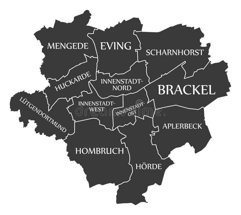 download dortmund city map germany de labelled black illustration stock vector illustration of administrative