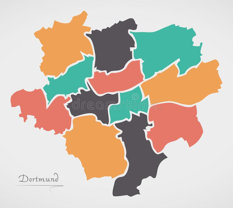 Dortmund Map with boroughs and modern round shapes. Dortmund Map with boroughs and modern round vector illustration