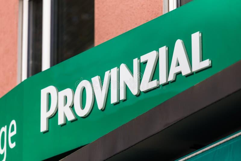 Dortmund, Noordrijn-Westfalen/Duitsland - 22 10 18: provinzial teken in Dortmund Duitsland stock fotografie