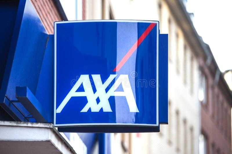 Dortmund, North Rhine Westphalia/germany - 06 11 18: axa sign in dortmund germany. Dortmund, North Rhine Westphalia/germany - 06 11 18: an axa sign in dortmund royalty free stock photos