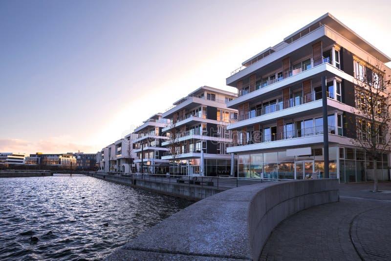 Dortmund Tyskland phoenixseesjö i vintern royaltyfria bilder