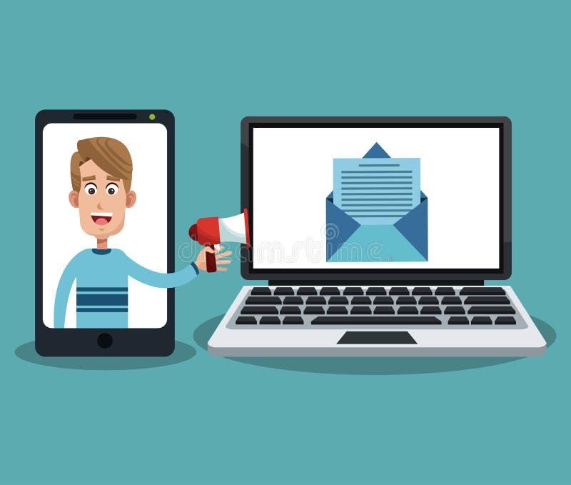 Dosłanie email z smartphone i laptopem royalty ilustracja