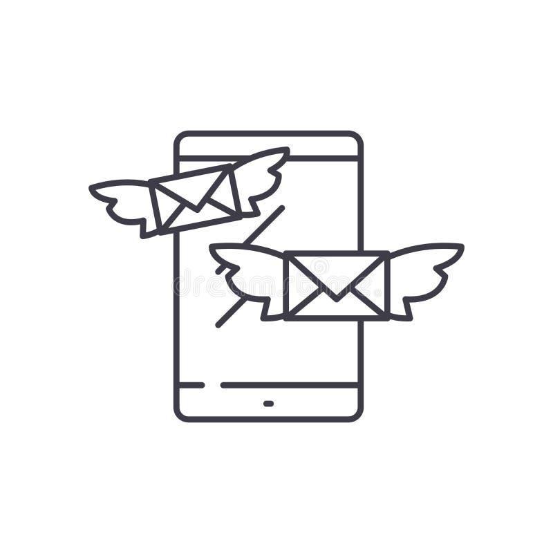 Dosłanie wiadomości linii ikony pojęcie Dosłanie wiadomości wektorowa liniowa ilustracja, symbol, znak ilustracji