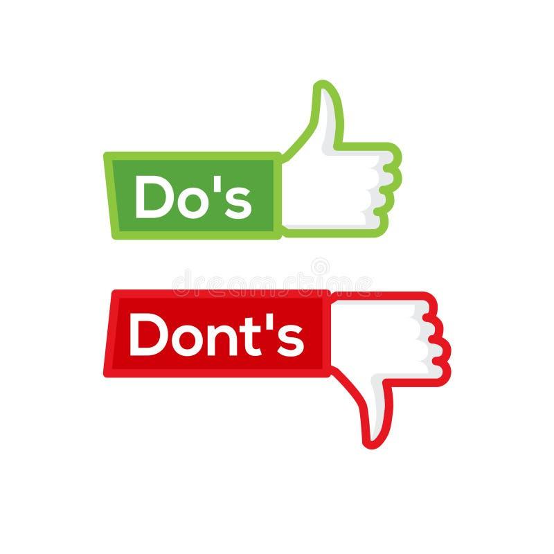 Dos和做不好和坏象检查 消极正面名单,象anf的真实的错误发生故障商标 皇族释放例证