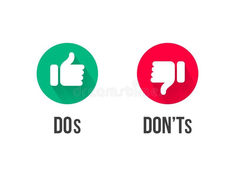 Dos和Donts赞许和下来导航象 皇族释放例证