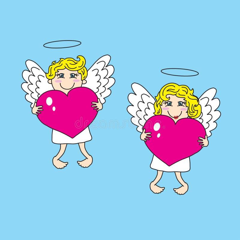 Dos ángeles hermosos guardan el corazón stock de ilustración