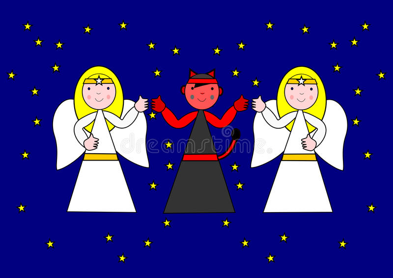 Dos ángeles y el diablo imagen de archivo